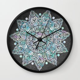 Mermaid Mandala on Deep Gray Wall Clock