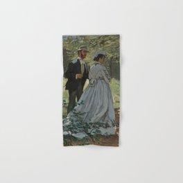 Claude Monet Bazille and Camille (Study for Déjeuner sur l'Herbe) 1865 Painting Hand & Bath Towel