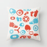 roller derby Throw Pillows featuring Roller Derby by RhiannonHeeley