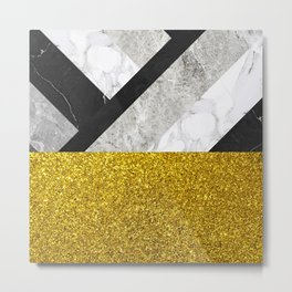 No First, No Last - metal geometric art, grey marble gradient and golden shimmer Metal Print