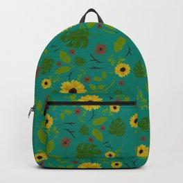 Sunflower & Monstera Leaf Backpack