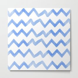 Pastel blue watercolor hand painted zigzag chevron pattern Metal Print