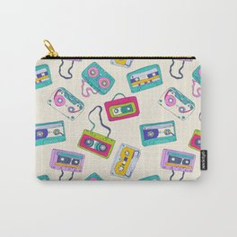 Vintage Cassette Tape Pattern Carry-All Pouch
