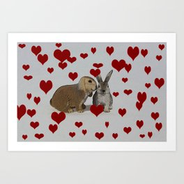 Hearts and Bunnies Art Print