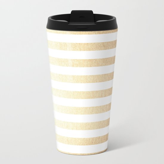 Simply Striped Golden Copper Sun Metal Travel Mug