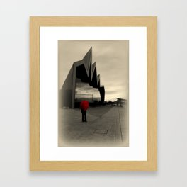 Lady with Red Umbrella at Riverside Museum Framed Art Print