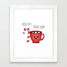 You're Hot! Thanks Sugar! Candy Cane & Hot Chocolate Couple Framed Art Print
