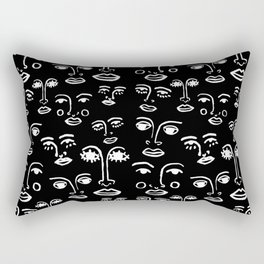 Funky Faces in Black Rectangular Pillow