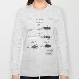 Toothbrush Patent - Bathroom Art - Black And White Long Sleeve T-shirt