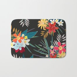 Frangipani, lily palm leaves tropical vibrant colored trendy summer pattern black background Bath Mat