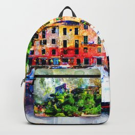 Watercolor painting pier Backpack