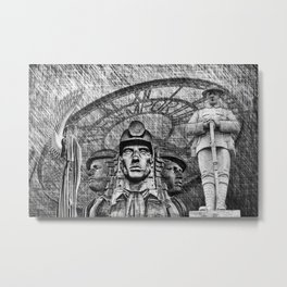 Landmarks 2 Black And White Metal Print