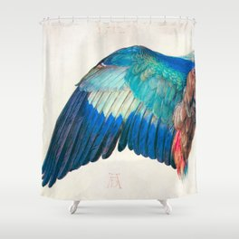 Wing of a Blue Roller by Albrecht Durer 1512 // Anatomy of a Birds Wing Wildlife Nature Decor Shower Curtain