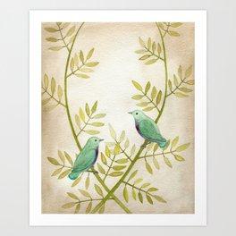 Celadon Birds Art Print