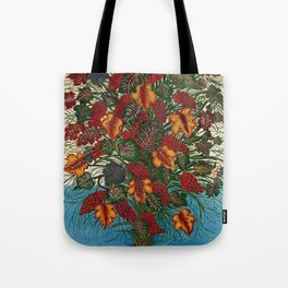 Grapes and Grape Leaves in Vase by Seraphine Louis Tote Bag