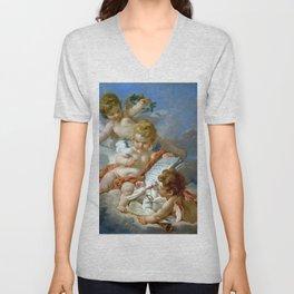 """François Boucher """"Cupids. Allegory of Poetry"""" Unisex V-Neck"""