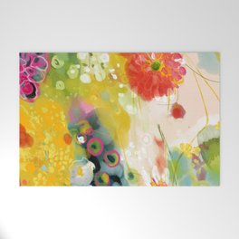 abstract floral art in yellow green and rose magenta colors Welcome Mat