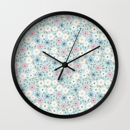 02 Ditsy floral pattern. Blue background. Light flowers. Wall Clock