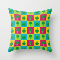 popart Throw Pillows featuring Popart Broccoli by XOOXOO