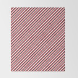 Red Inclined Stripes Throw Blanket