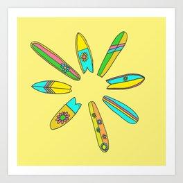 Retro Surfboard Flower Power Yellow Art Print