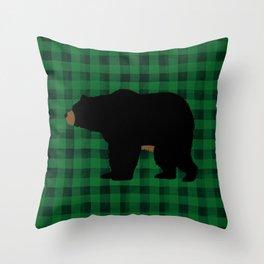 Black Bear - Green Plaid Throw Pillow