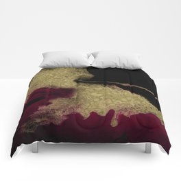 Black Honey - resin abstract painting Comforters