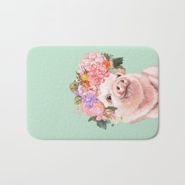 Baby Pig with Flowers Crown in Pastel Green Bath Mat