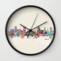 maryland Wall Clocks featuring Baltimore Maryland skyline by bri.buckley