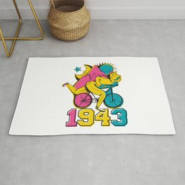 A reworked Bicycle acid 1943 on a tie dye background. Rug