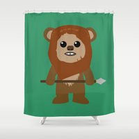 ewok Shower Curtains featuring Ewok forever by Bonitismo