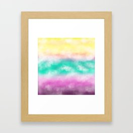 Fruity Cloudscape - grape purple, aqua green & citrus yellow skyscape Framed Art Print