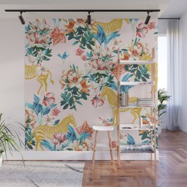 Floral & Zebras Wall Mural