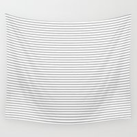 gray pattern Wall Tapestries featuring Gray Stripes Pattern by Allyson Johnson