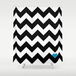 Heart & Chevron - Black/Blue Shower Curtain