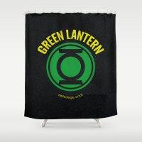 green lantern Shower Curtains featuring GREEN LANTERN by Alberto Lamote de Grignon