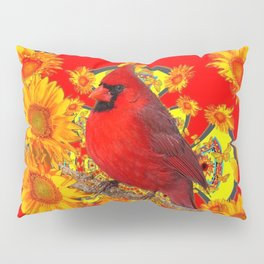 RED CARDINAL SUNFLOWERS ON CREAM ART Pillow Sham