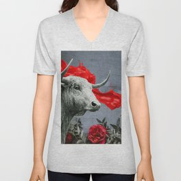 bull's head and red paint Unisex V-Neck