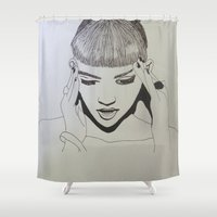 grimes Shower Curtains featuring Grimes by NikkiMaths