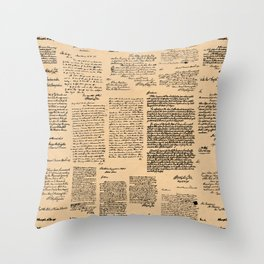 George Washington's Letters // Dark Paper Throw Pillow