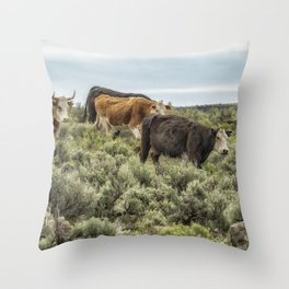 Five Cows Coming Down a Hill Throw Pillow