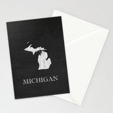 Michigan State Map Chalk Drawing Stationery Cards