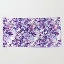 Dragonfly Lullaby in Pantone Ultraviolet Purple Beach Towel