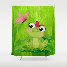 Cute Girl Frog  Shower Curtain