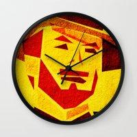 clint barton Wall Clocks featuring Clint by Triplea