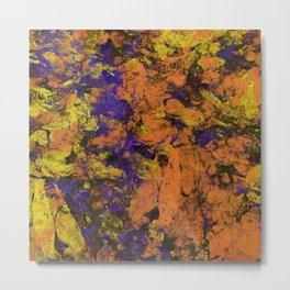 Vivid - Abstract, textured painting in amber, yellow and blue Metal Print