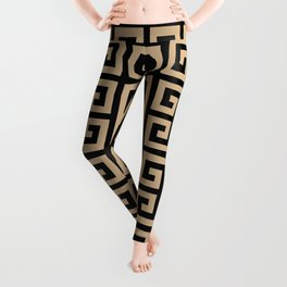Greek Key (Black & Tan Pattern) Leggings