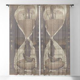 Sands of Time ... Memento Mori - Sepia Sheer Curtain
