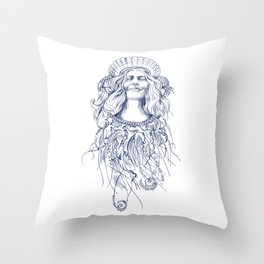 Sea Posse V - Queen, Navy Print Throw Pillow