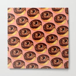 Chocolate Donut Pattern - Pink Metal Print